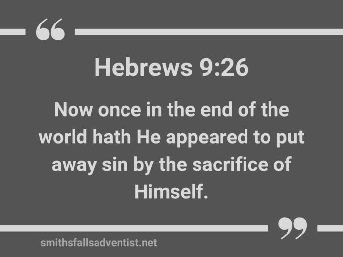 Illustration-dark gray beckground-title-He put away sin sacrificing Himself-text-Bible verse