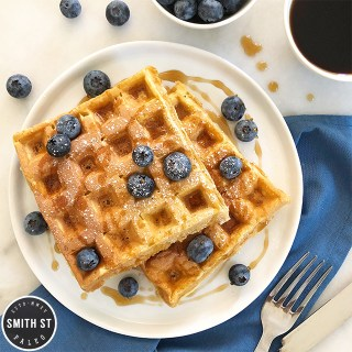 Breakfast Waffles with Blueberries & Maple Syrup