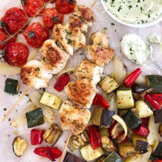 Chicken Souvlaki with Tzatziki & Roasted Veg