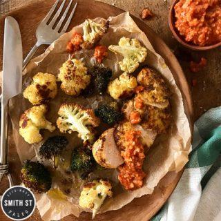 Spanish Chicken with Romesco Sauce, Roasted Broccoli & Cauliflower