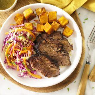 Slow Cooked Beef Brisket with Sweet Potato & Slaw