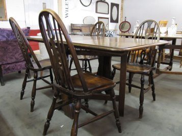 """Oak drop leaf table with 4 Ercol style chairs 56""""x 32"""" £180"""