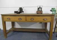 Pine kitchen preparation table with two drawers £175