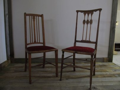 Two arts and crafts inlaid walnut side chairs £100 for the pair