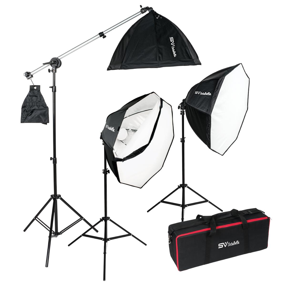 octabella 1500 3 light 1500w led daylight softbox lighting kit with boom arm