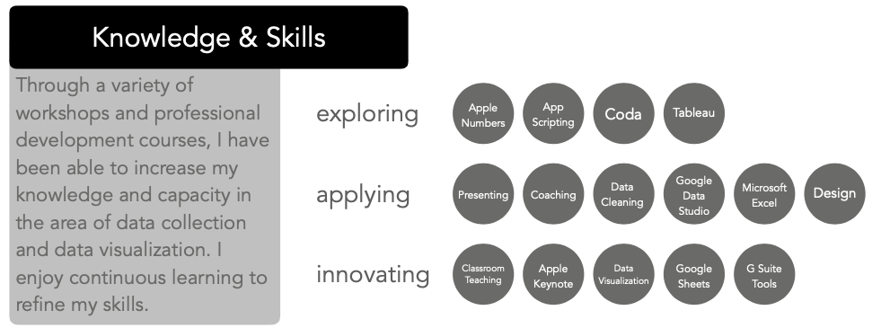 This is a table of skills and proficiency levels among those skills
