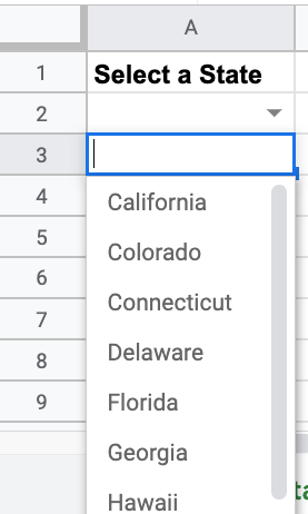 drop down menu of states