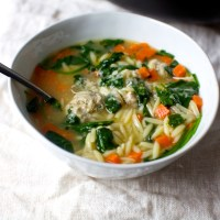 greens, orzo and meatball soup