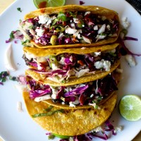 crisp black bean tacos with feta and slaw
