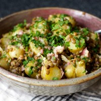 warm lentil and potato salad