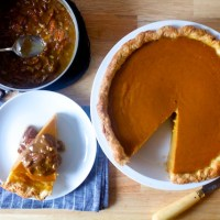 classic pumpkin pie with pecan praline sauce
