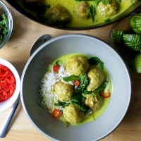 braised ginger meatballs in coconut broth