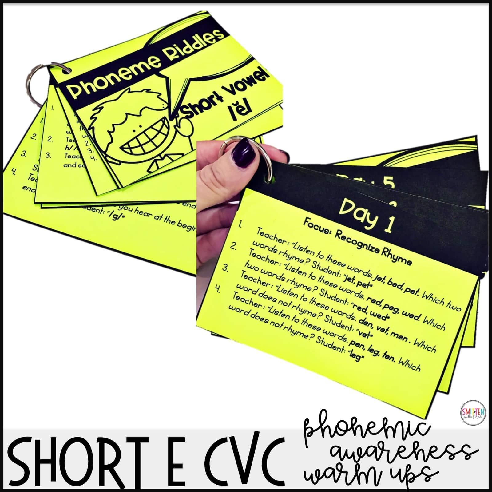Short E Cvc Phonemic Awareness Kindergarten 1st Grade 2nd