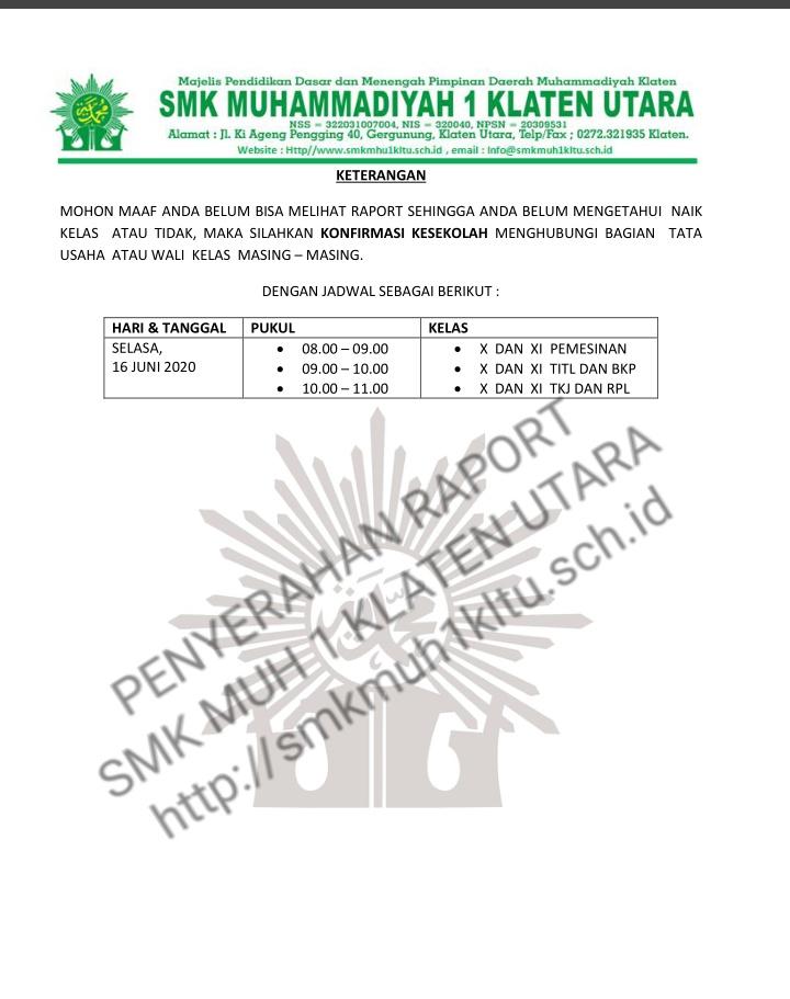 Penyerahan Raport Daring SMK Muh 1 Klaten Utara