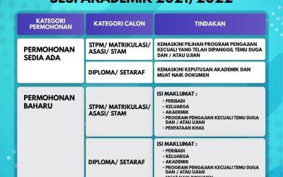 Panduan Fasa pengemaskinian kepada lepasan STPM/SETARAF sesi 2021/2022