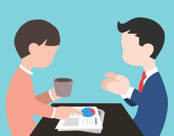 Meeting to discuss documents - cartoon art