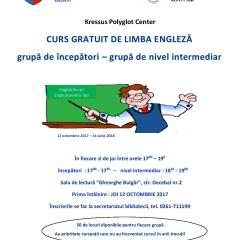 Biblioteca Județeană Satu Mare, în parteneriat cu Kressus Polyglot Center, organizează cursuri gratuite de Limba engleză