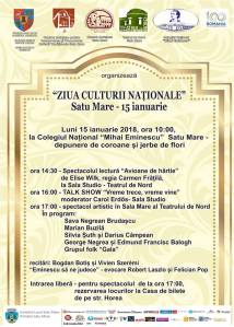 Manifestari de Ziua Culturii Nationale la Satu Mare