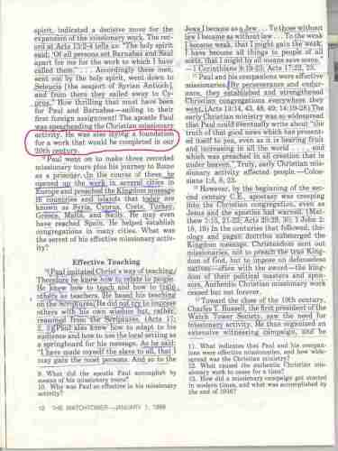 An underlined study article in the Watchtower