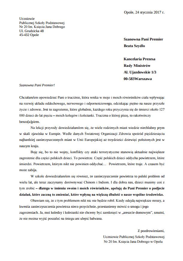 List do premier Szydło