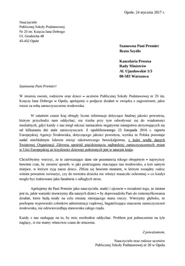 List rodziców do premier Szydło.