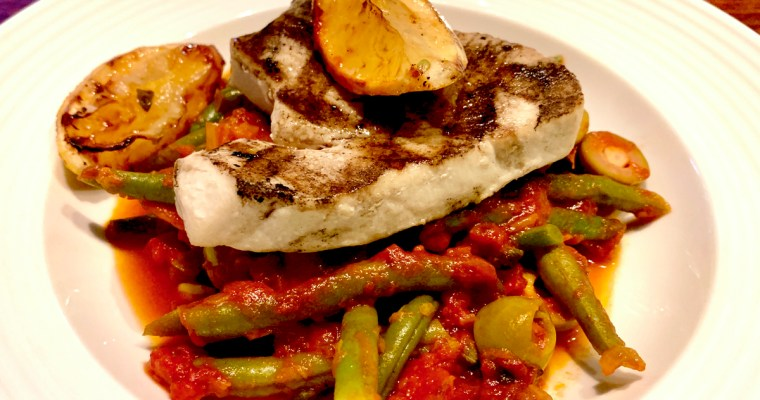 Tuna with Sicilian lemon zested beans in tomato sauce