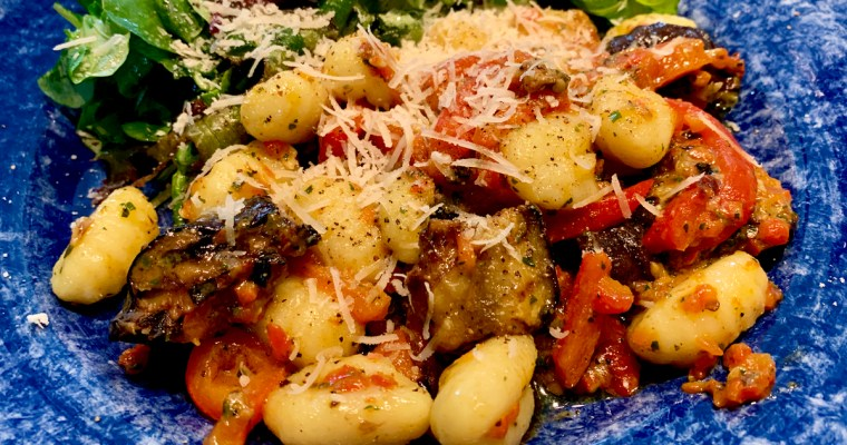 Gnocchi Aubergine and Red Pepper Bake in a Parmigiana Sauce.