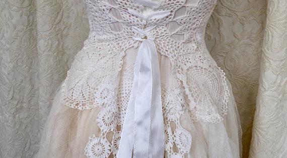 Wedding Dress Steampunk,boho Wedding Dress White Crochet