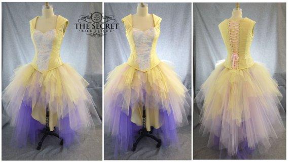 Yellow Wedding Dress-fantasy Wedding Dress-ombre Wedding