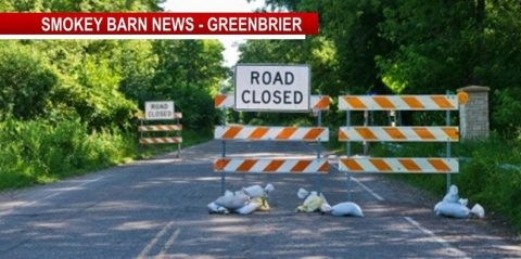 Road closed Greenbrier