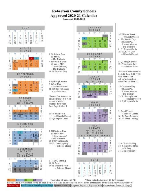 Robertson County School Calendar 2021-2022 Pictures