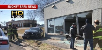 Mustang Crashes Into Springfield Building