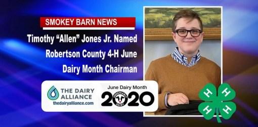 "Timothy ""Allen"" Jones Jr. Named Robertson Co. 4-H June Dairy Month Chairman"