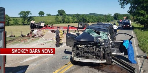 Semi Overturns In Front Of Cottontown Fire-Station Monday