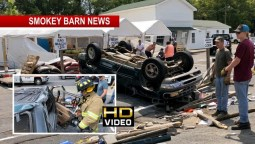 Violent Rollover Crash Near Miss For Fruit Stand Patrons