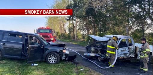 2 Injured In Fiery Head-On Crash On Buzzard Creek Rd->(Road Closed)