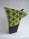 Hilary Coole, Spotty Daisy Collar Vessel Green, low res