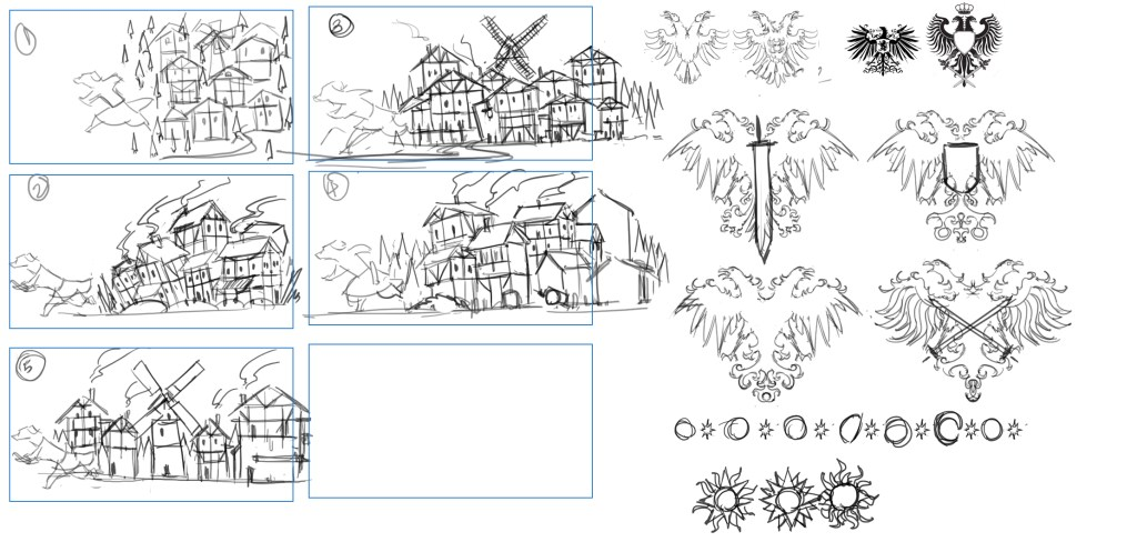 Village concepts, and further banner work.