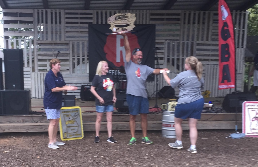 Doug hoist the first place ribs trophy