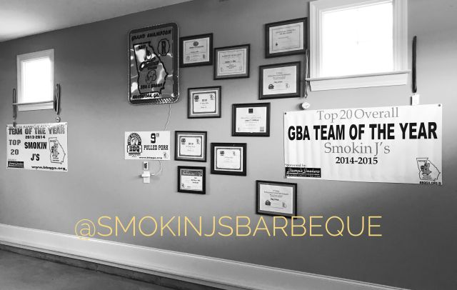 Smokin J's Barbeque Awards Wall