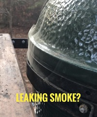 close up big green egg lid leaking smoke