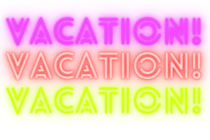 vacation in purple, red and green