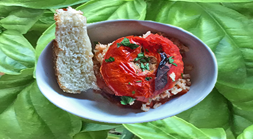 SUCCULANT WOOD FIRED STUFFED TOMATO WITH HERB RICE