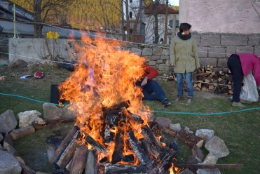 Fire walk preparation during a training course