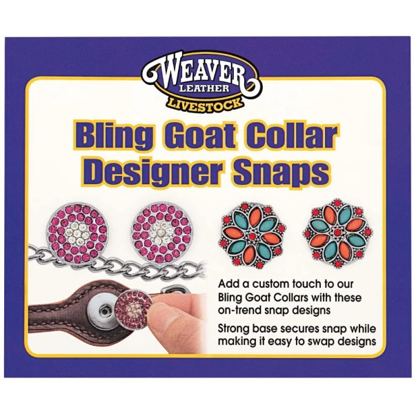 301415S1 Bling Goat Collar Design Snap - Pink Sparkle/Orange & Teal Flower
