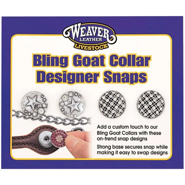 301415S2 Bling Goat Collar Design Snap - Star Sparkle/Checkered Sparkle