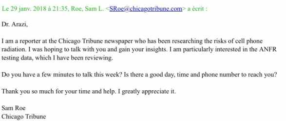 Sam Roe email to Dr. Arazi January, 29 2018