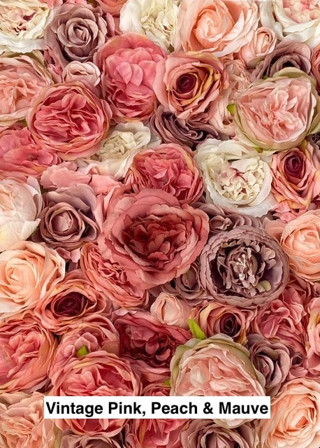 Vintage Pink, Peach & Mauve Flower Wall