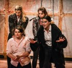 Saturninus (Francesca Binefa) releases the Goth Prisoners (Stella Taylor, Madeline Gould and Ashlea Kaye) in Act 1 of 'Titus Andronicus: an all-female production' by Smooth Faced Gentlemen, at The Bedlam Theatre, Edinburgh Fringe (photo: Daniel Harris)