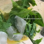 minty aibika smoothie ingredients in blender